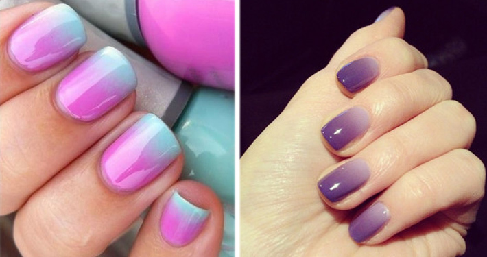 Маникюр два цвета на одном ногте фото