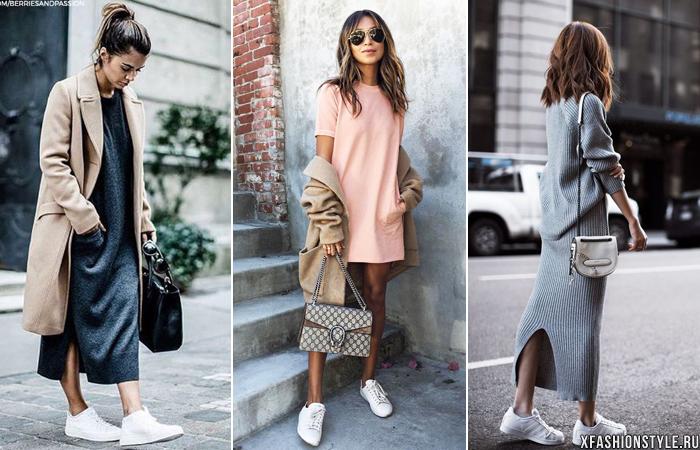 Чёрные кроссовки одинаково красиво смотрятся как с такого же цвета платьем,  так и с контрастным. С кедами или кроссовкам с ярким декором лучше надеть  платье ... 0e3da888e27