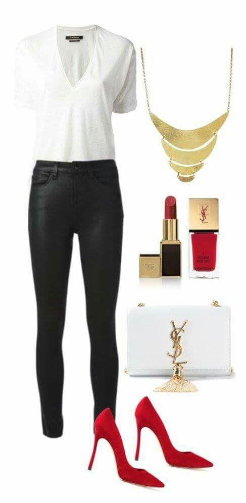 Красная изюминка: 10 стильных комплектов с туфлями-лодочками