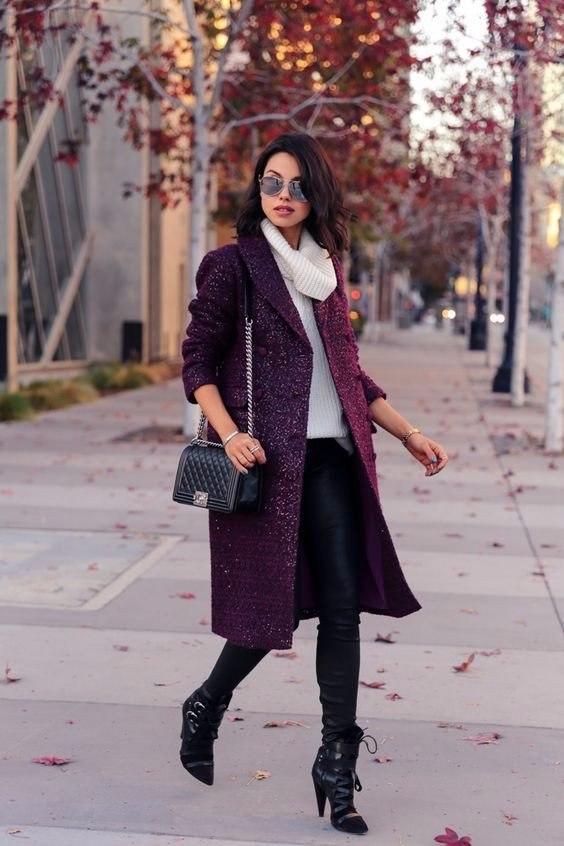 Пальто в цвете Марсала: 8 образов для поздней осени и теплой зимы