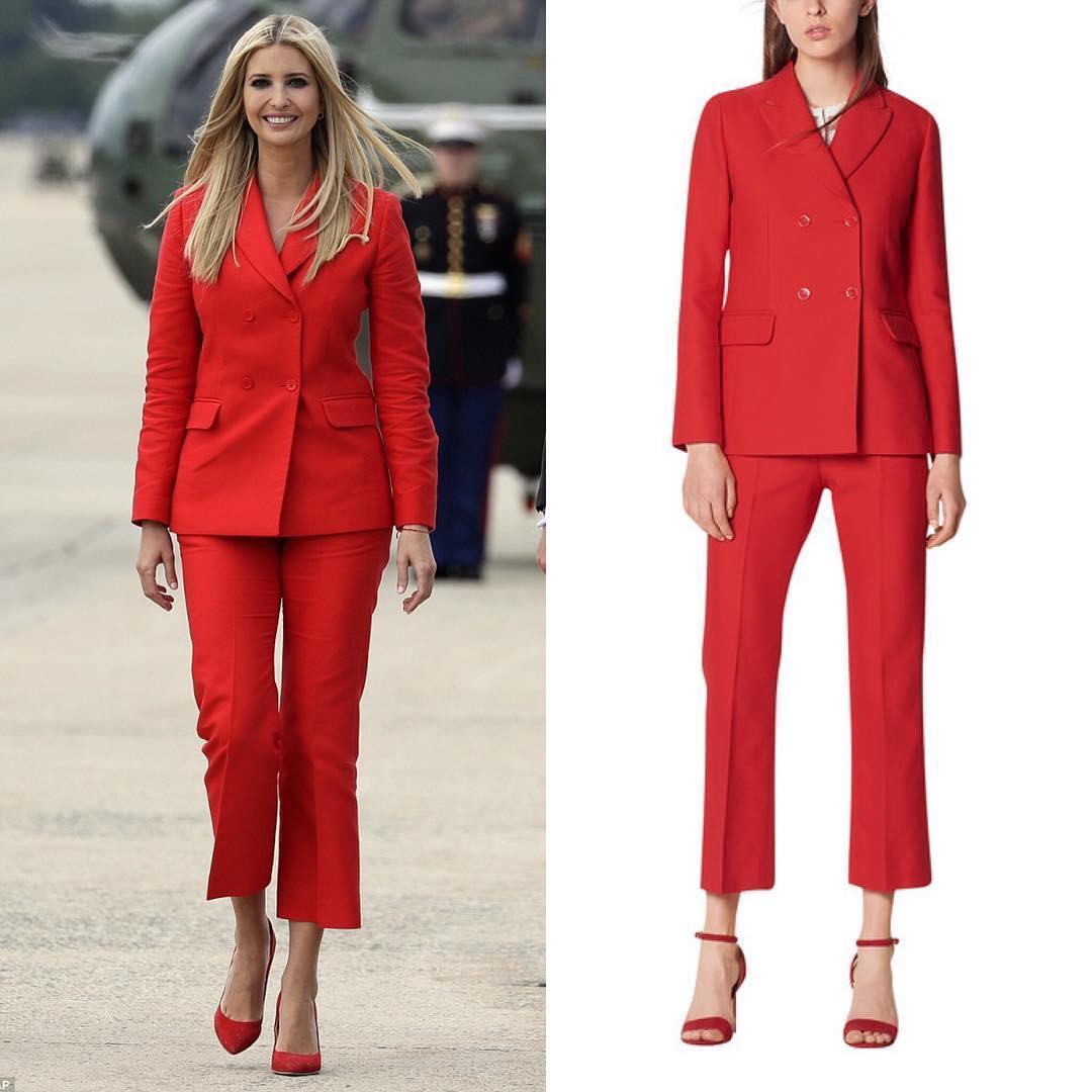 Иванка Трамп вошла в образ роковой красотки в шикарном красном костюме от Sandro Paris