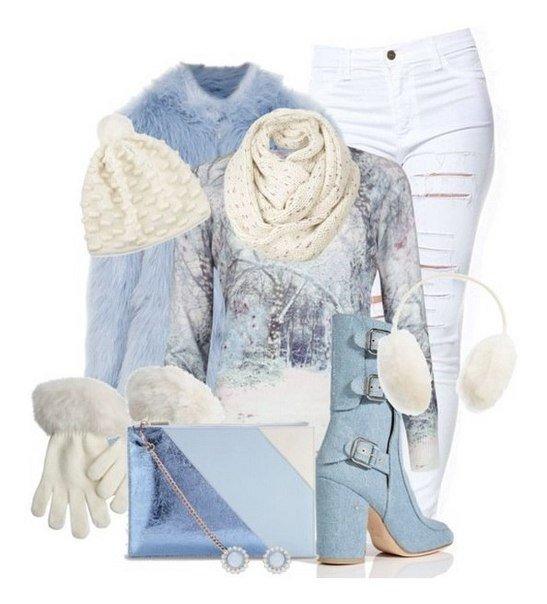 Зимнее настроение: 6 красивых образов в бело-голубой гамме