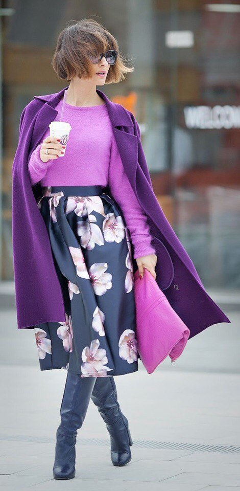 Как носить фиолетовый: 10 образов для осенне-зимнего гардероба