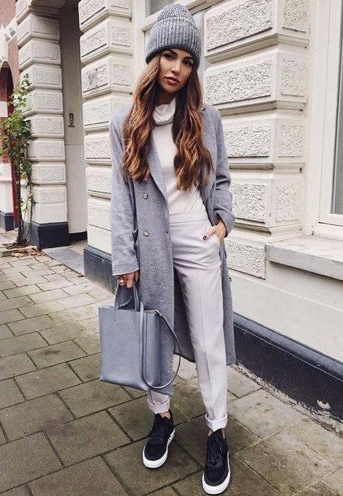 Серое пальто: 8 модных идей на любой вкус