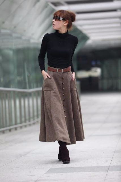 Как в теплой юбке выглядеть стильно: 9 образов для зимы