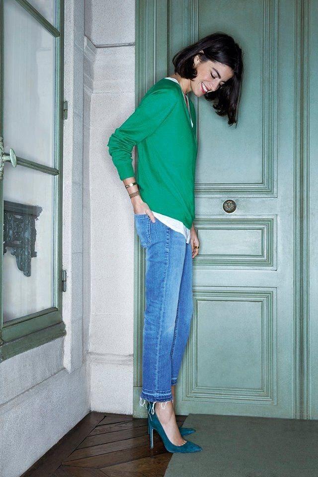 Весна уже близко: 9 способов, как носить джемпер в зеленых тонах