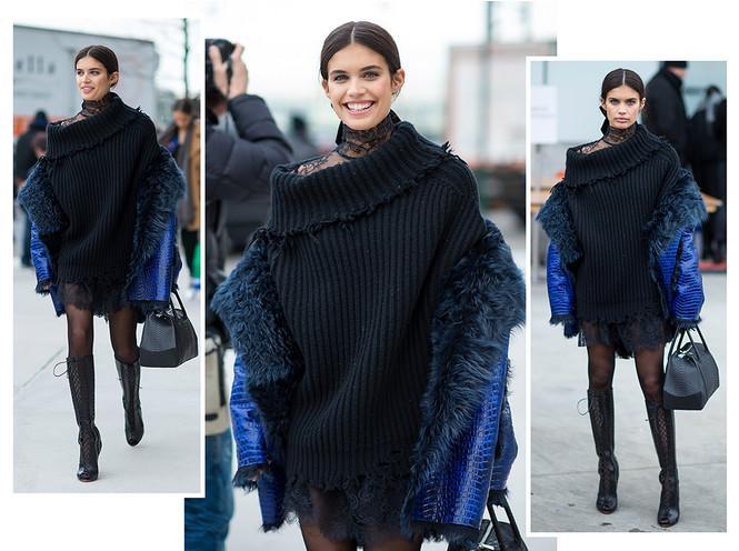 Морозы для мини - не помеха: 4 идеи, как носить теплый свитер-платье зимой