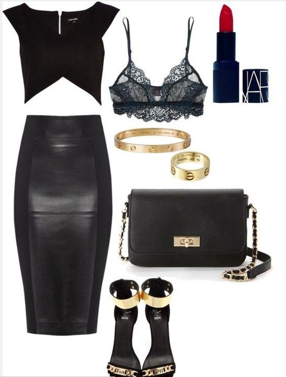 Кожаное царство: 9 женственных сетов с юбками-миди