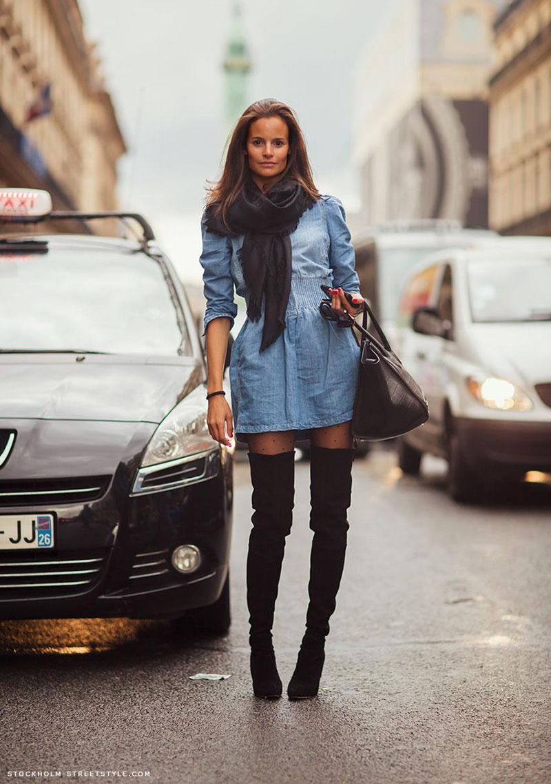Тренд вне времени: 7 весенних образов с джинсовым платьем
