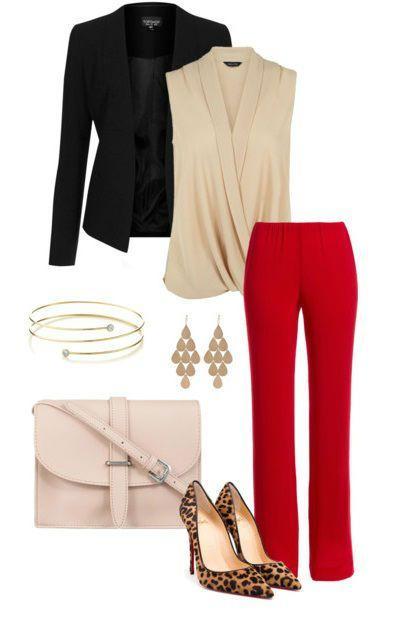 Для самых смелых: 7 ярких образов с красными брюками
