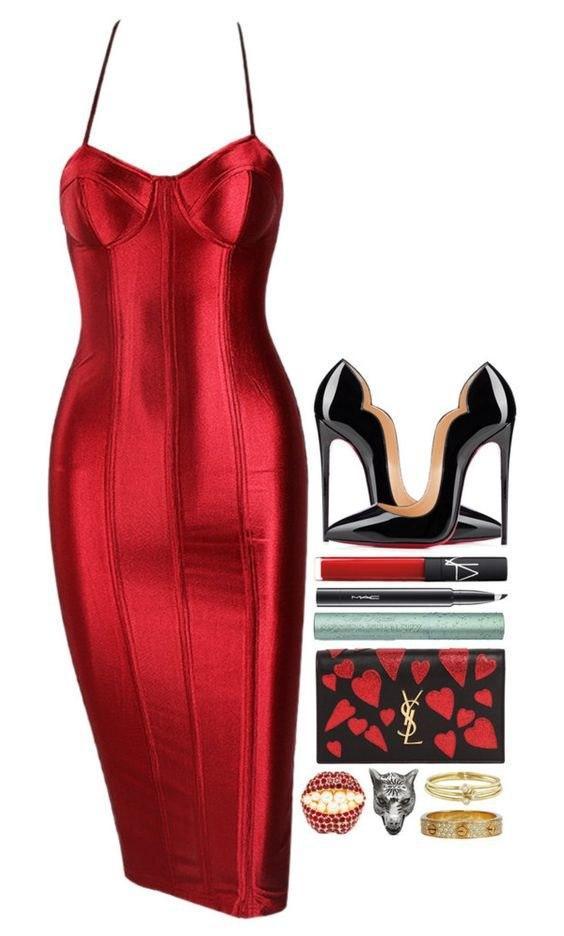От офиса до вечеринки: 7 ярких образов с красным платьем