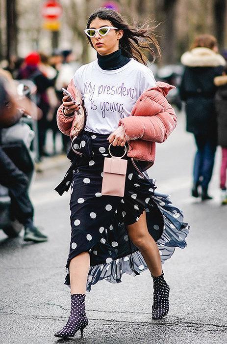 Принт горошек: как носить, чтобы не выглядеть как бабуля или школьница — 7 правил