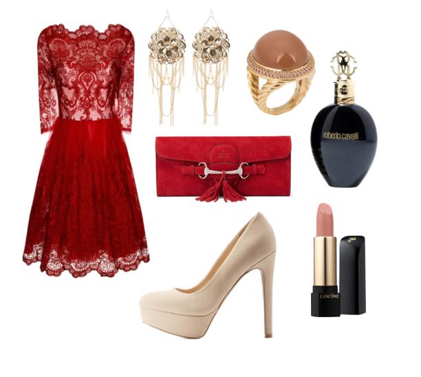 Эффектный выход: 7 потрясающих сетов с красным платьем