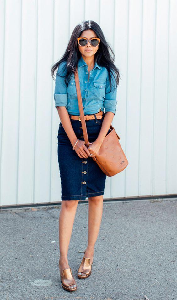 8 образов с джинсовой юбкой-карандаш, которые выведут ваш стиль на новый уровень