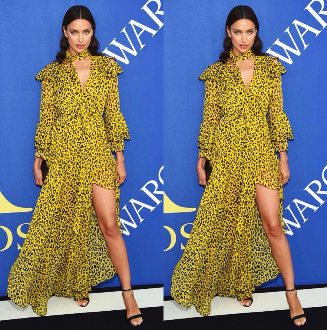 Летящей походкой: ярко-желтое платье Ирины Шейк очаровало публику в Нью-Йорке