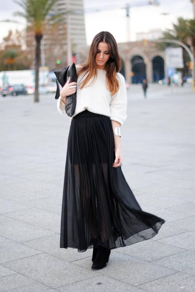 Как носить черную полупрозрачную юбку: 10 шикарных образов для роковых дам