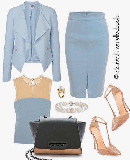 Как выглядеть богиней в оттенках голубого: 6 идей для офисных будней
