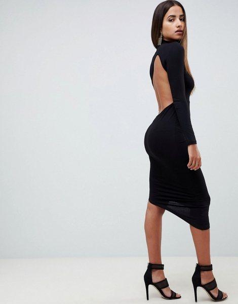 423668ee39b43d6 Облегающее платье миди с открытой спиной и длинными рукавами ASOS DESIGN